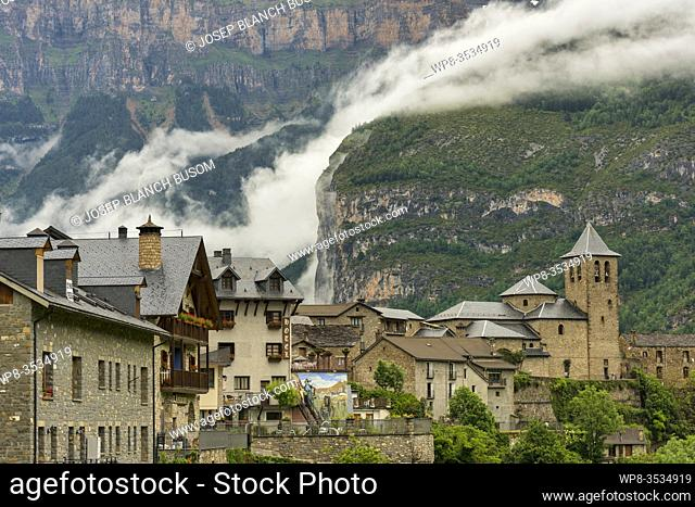 View of the town of Torla, Huesca, Spain