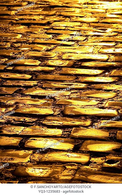 Cobblestone in the old town, Castro Urdiales, Cantabria, Spain