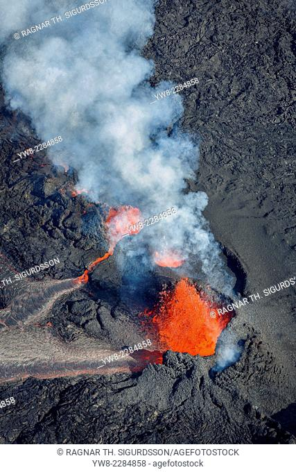 Volcano eruption at the Holuhraun Fissure near the Bardarbunga Volcano, Iceland. August 29, 2014, a fissure eruption started in Holuhraun at the northern end of...
