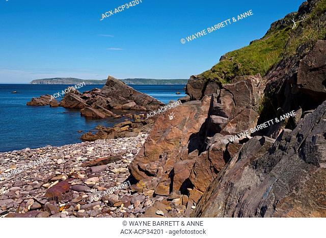Rocky shore of Red Head Cove coastline, Newfoundland and Labrador, Canada