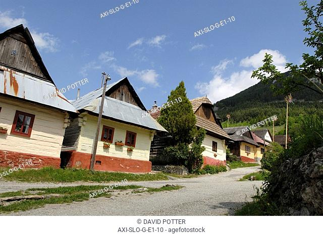 Cottages in village of Vlkolinec, Slovakia
