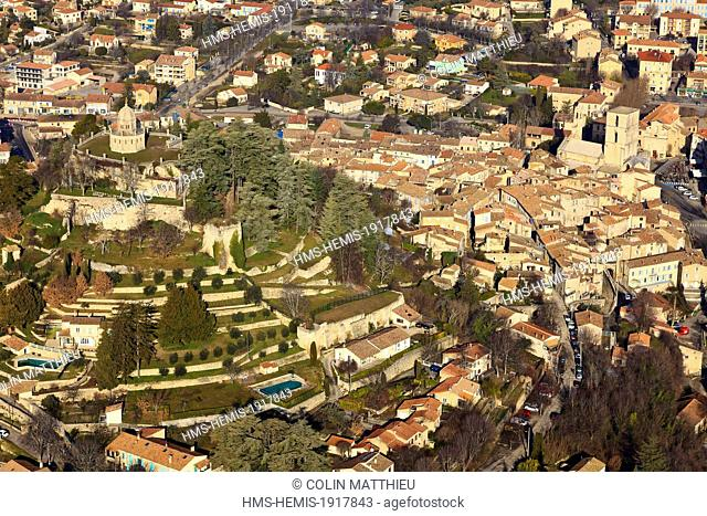 France, Alpes de Haute Provence, regional park of Luberon, Forcalquier and its citadel (aerial view)