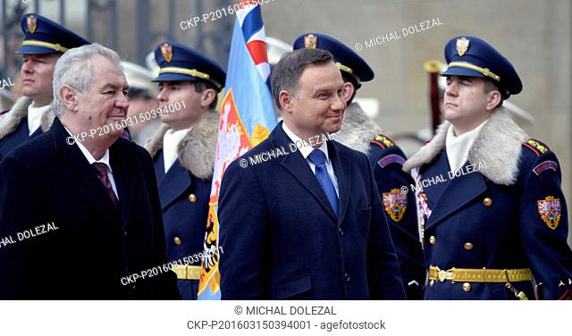 Czech President Milos Zeman (left) and Polish President Andrzej Duda during a Welcome ceremony with military honours at Prague Castle, Czech Republic, March 15