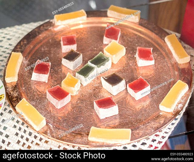 Delicious Turkish delight placed in a metal tray