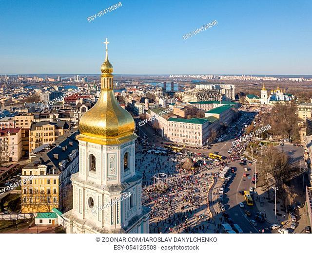 Kiev City skyline aerial view at drone. Top view on Sophia Square and St. Sophia tower in Kiev city, Ukraine