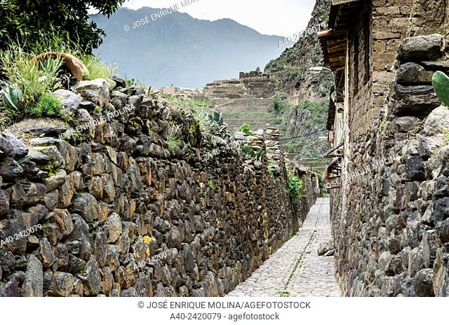 Ollantaitambo village. Inca village in Sacred valley, Cusco. Peru