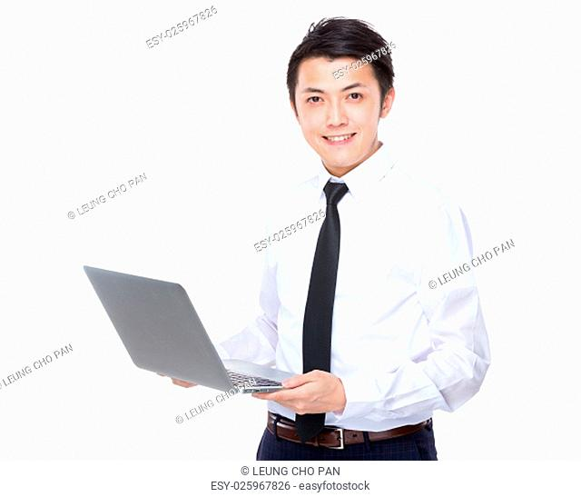 Businessman use of laptop