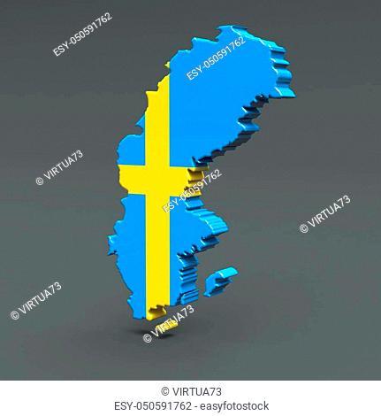 Europe 3D map isolated on dark background Illustration