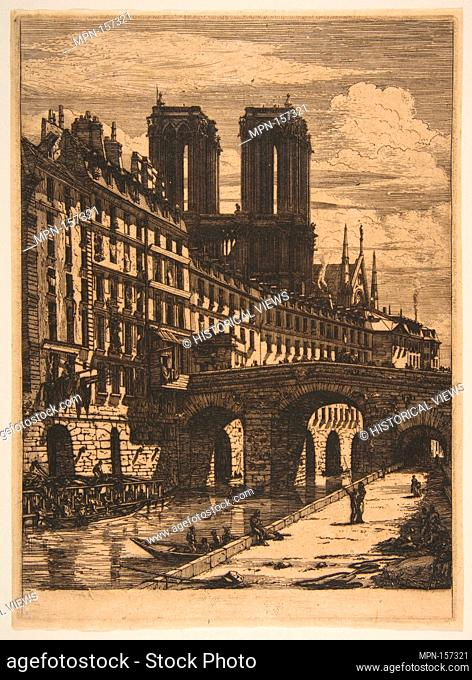 The Petit Pont, Paris. Series/Portfolio: Etchings of Paris; Artist: Charles Meryon (French, 1821-1868); Date: 1850 or later; Medium: Etching and engraving on...