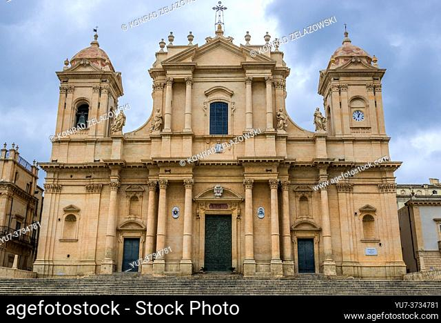 Noto Cathedral, dedicated to Saint Nicholas of Myra in Noto town, Province of Syracuse on Sicily Island in Italy