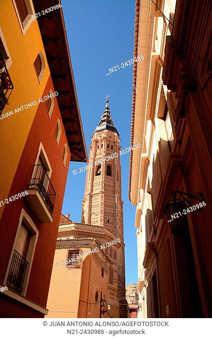 Tower of the Real Colegiata de Santa María la Mayor. Calatayud, Zaragoza, Aragon, Spain, Europe