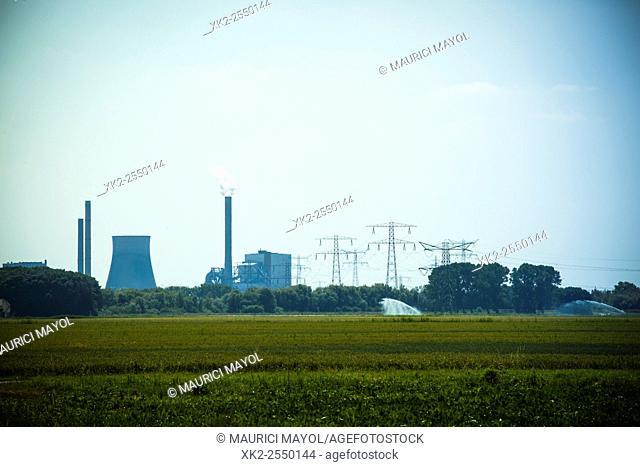 Nuclear power station chimneys near de Biesbosch, Rotterdam, Holland, The Nederlands