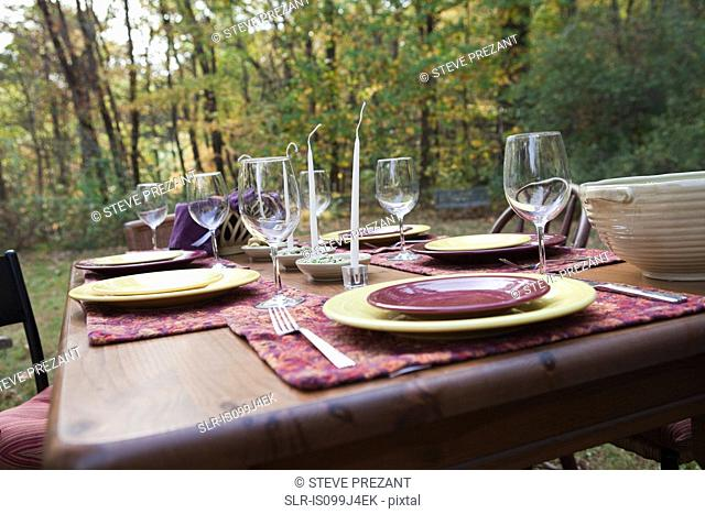 Table set for outdoors dinner