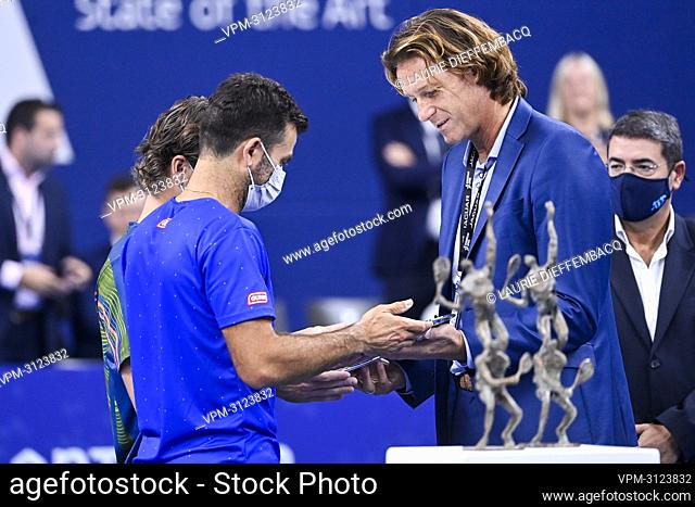 Dutch Wesley Koolhof, Dutch Jean-Julien Rojer and European Open Director Dick Norman pictured after a doubles men game between Dutch pair Koolhof - Rojer and...
