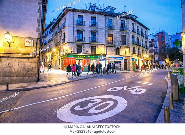 Segovia street and Casa Paco restaurant, night view. Madrid, Spain