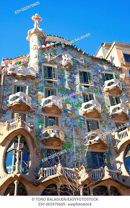 Casa Batllo facade by Gaudi on Passeig de Gracia, Barcelona, Catalonia, Spain