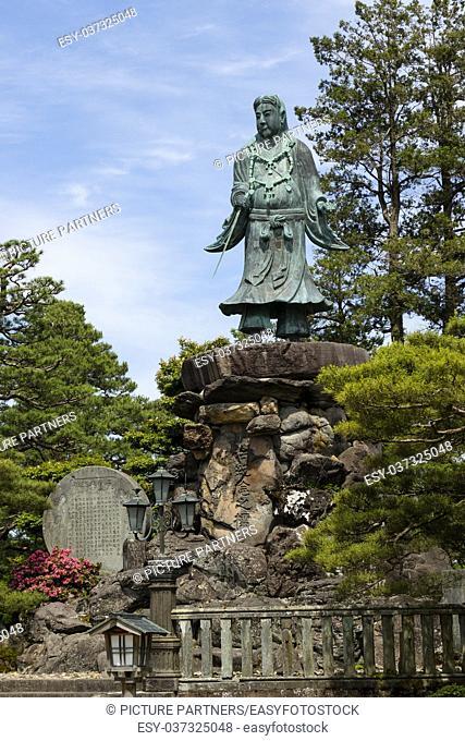 Statue of prince Yamato Takeru, a Japanese mythological hero, in Gyokuseninmaru Garden at Kanasawa castle
