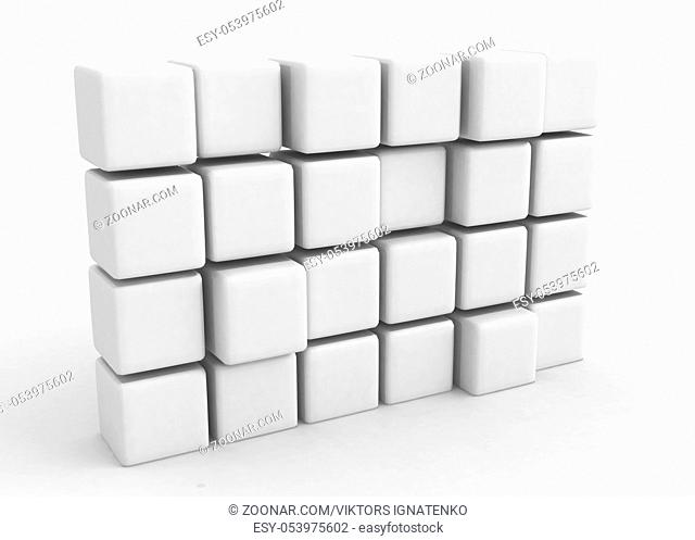 A wall of 24 white 3d cubes