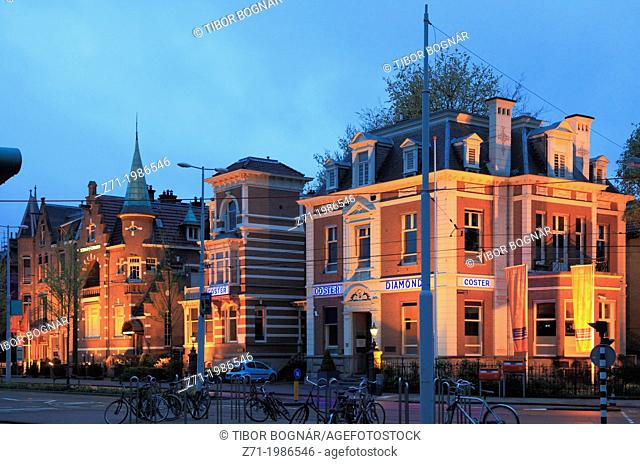 Netherlands, Amsterdam, Coster Diamonds, street scene at night,