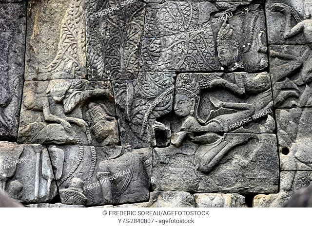Detail of bas relief at Bayon temple in Angkor Wat,Cambodia,Indochina,Southeast Asia,Asia