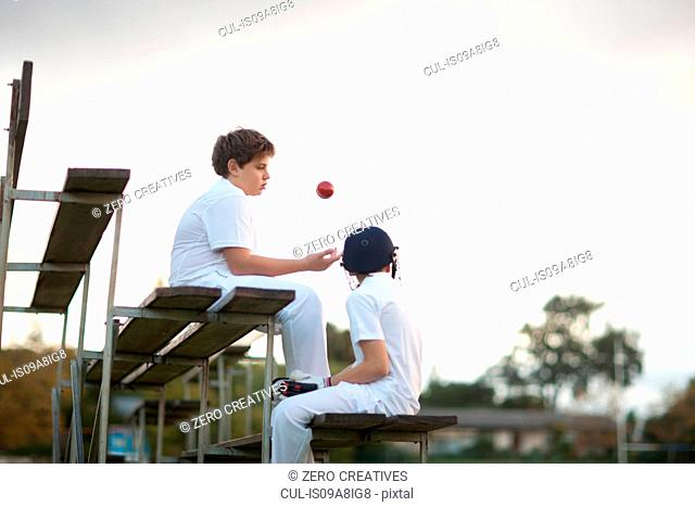 Boys on bleachers at cricket pitch