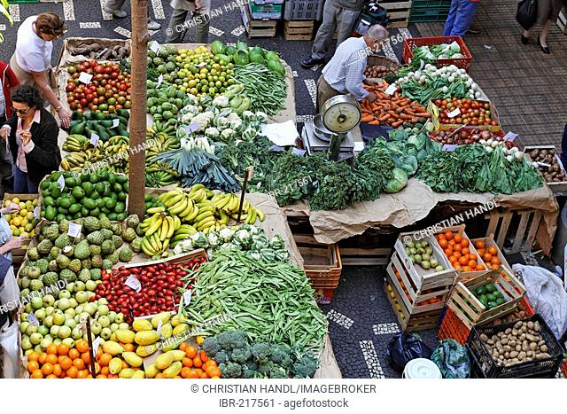 Fruits and vegetables are sold in the the market hall, Funchal, Madeira, Portugal