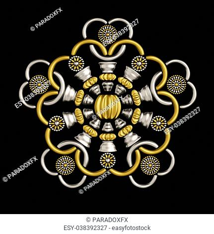 Luxury brooch design made from metallic seed beads isolated on black background.Beautiful jewelry ornament conceptual design