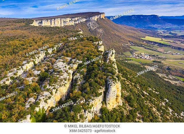Loquiz Sierra and Ganuza village. Navarre, Spain, Europe