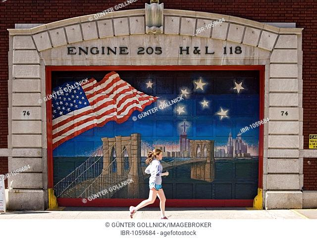 Painted fire brigade gate in Brooklyn, USA, New York
