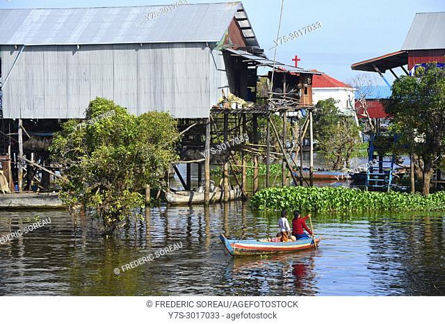 Kampong Phluk floating village, Tonle Sap lake, Siem Reap, Cambodia, South East Asia, Asia