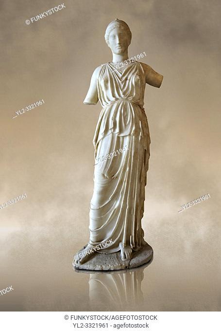 Marble statue of Athena, the Goddess of Wisdom, Skills & Warfare from Leptis Magna, Tripolitana. Roman copy of Greek 5th cent. B. C statue