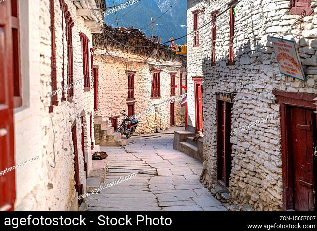 Nepal. The view on Annapurna trail track. Marpha village