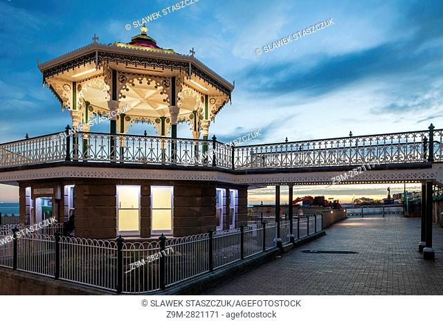 Evening at the Bandstand on Brighton seafront, East Sussex, England