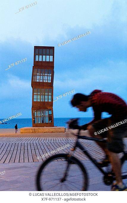 Barcelona: Rebecca Horn's sculpture 'The Wounded Star' L'Estel Ferit on Barceloneta Beach  As seen from Passeig Maritim de la Barceloneta