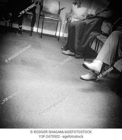 Patient patients in a doctor's waiting room