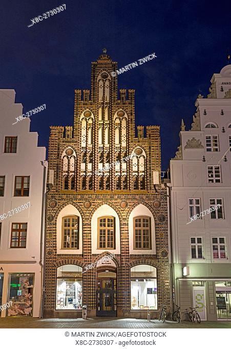 Ratschow Haus, buildt in the middle ages in typical brick gothic style. The hanseatic city of Rostock at the coast of the german baltic sea