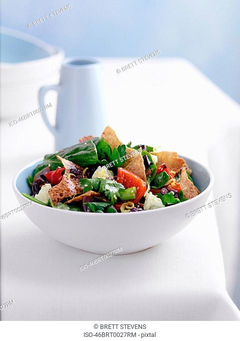 Plate of pita bread salad