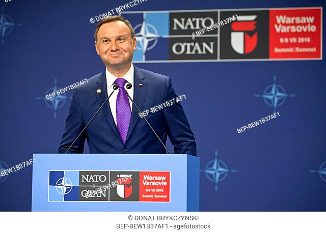 President's Andrzej Duda press conference at the end of The Warsaw NATO summit, National Stadium, Warsaw on July 9th, 2016