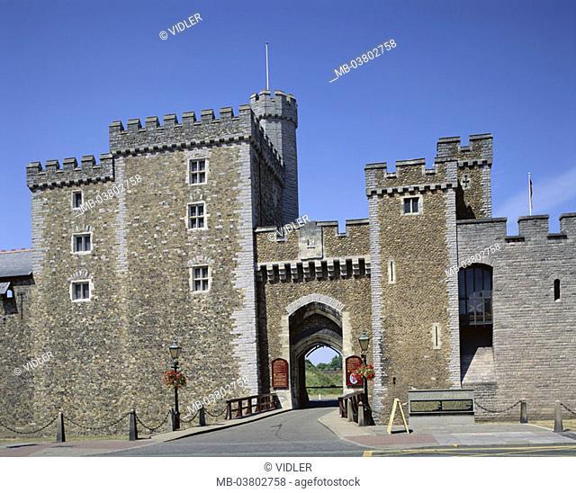 Great Britain, Wales, Cardiff,  Cardiff Castle   Europe, island, South Glamorgan, city, capital, landmarks, buildings, castle, Norman, 1093, walls, entrance