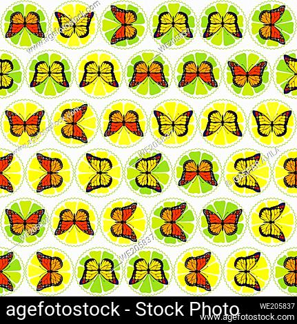 Pattern of butterflies on top of lime and lemon fruit slices. Art for children