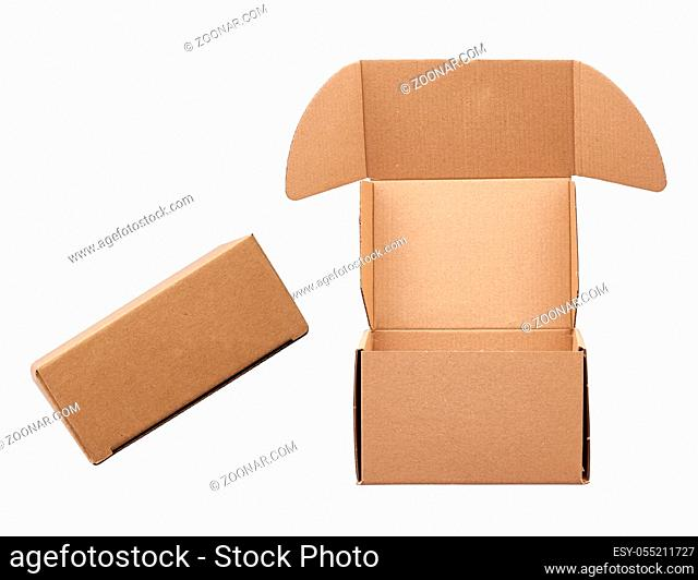 open and closed brown rectangular cardboard box for transporting goods isolated on white background. Packaging design