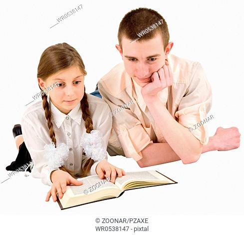 Man and girl reading book