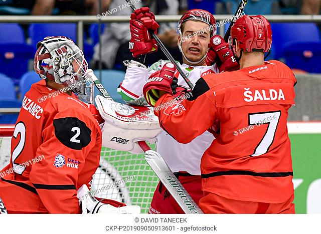 From left hockey players MAREK MAZANEC of Hradec Kralove, MATTHEW MYERS of Cardiff, RADIM SALDA of Hradec Kralove in action during the Champions Hockey League H...