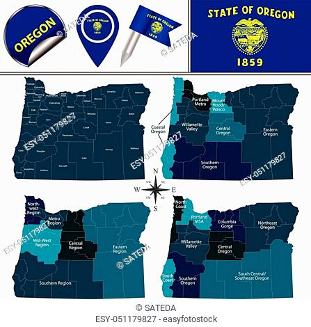 Vector map of Oregon with named regions and travel icons