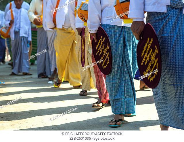 Men Holding Fans During Novitiation Parade, Bagan, Myanmar