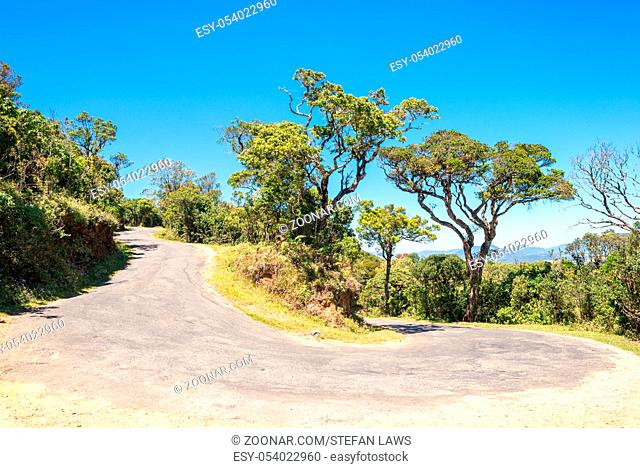 The worlds end road. The highway b512 goes up by serpentine to the Horton Plains in the Central province of Sri Lanka