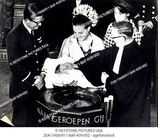 Sep. 11, 1968 - Five Months Old Prince Maurits, the five-months old son of Princess Margriet of the Netherlands and Mr. Pieter Van Hollenhoven - was baptised...