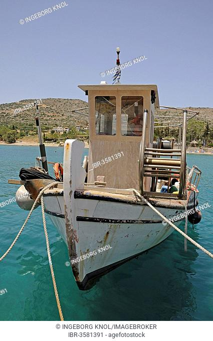 Fishing boat in the harbour, Georgioupolis, Crete, Greece