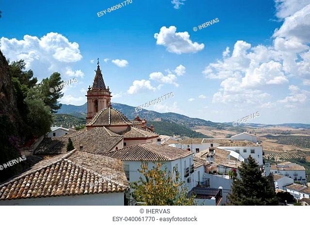 Views of Zahara de la Sierra, Spain. This village is part of the pueblos blancos -white towns- in southern Spain Andalusia region