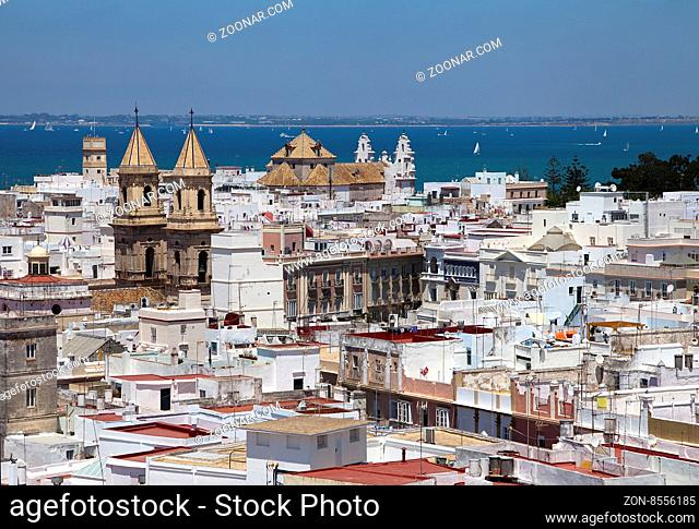 Cadiz, Spain, view from torre Tavira on a sunny day